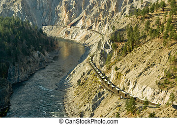 Canyon Railway - A train winds it's way through the Fraser...