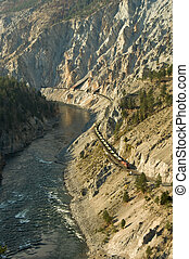 Fraser Canyon Train - A train winds its way through the...