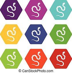 Venomous snake icon set color hexahedron - Venomous snake...