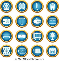 Heating cooling air icons blue circle set isolated on white...
