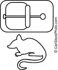 Mousetrap icon, outline line style - Mousetrap icon. Outline...