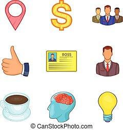 Stocktaking icons set, cartoon style - Stocktaking icons...