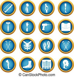 Orthopedics prosthetics icons blue circle set isolated on...