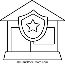 House protection icon, outline line style - House protection...