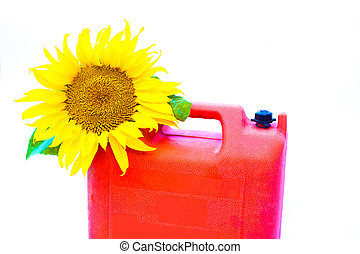 Bio-fuel concept - Jerry-can with blooming sunflower over...