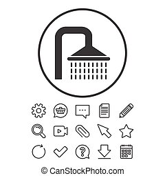 Shower sign icon. Douche with water drops symbol. Document,...