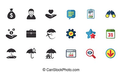 Insurance icons. Life, Real estate and House. - Insurance...