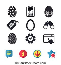Easter eggs signs. Circles and floral patterns. - Easter...