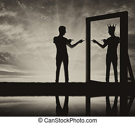 Concept of a narcissistic and egoistic man. Silhouette of a...