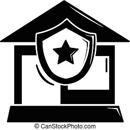 House protection icon, simple black style - House protection...