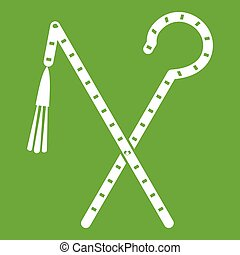 Rod and whip of Pharaoh icon green - Rod and whip of Pharaoh...