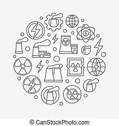 Nuclear power outline illustration. Vector nuclear energy...