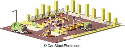 Vector low poly waste collection center - Vector low poly...