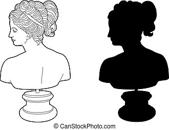 Shadow of an antique face - Vector illustration of a work of...