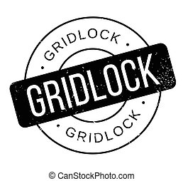 Gridlock rubber stamp. Grunge design with dust scratches....