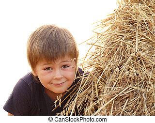 Beautiful boy in a field