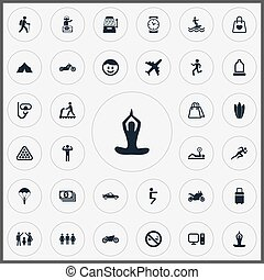 Vector Illustration Set Of Simple Health Icons. Elements PC,...
