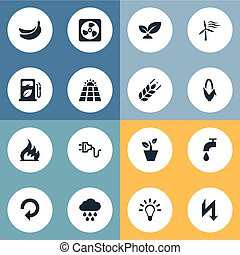Vector Illustration Set Of Simple Power Icons. Elements...