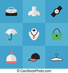 Vector Illustration Set Of Simple Accessories Icons. Elements Sport Hat, Wristwatch, Woman Bag And Other Synonyms Wear, Parasol And Jewelry.