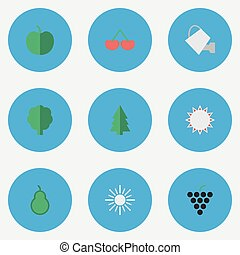 Vector Illustration Set Of Simple Horticulture Icons....