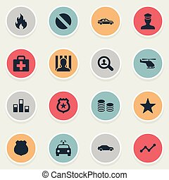 Vector Illustration Set Of Simple Crime Icons. Elements Medicine, Narcotic, Prison And Other Synonyms Drive, Safety And Policeman.