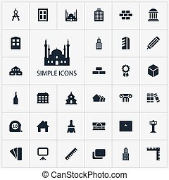 Vector Illustration Set Of Simple Architecture Icons....