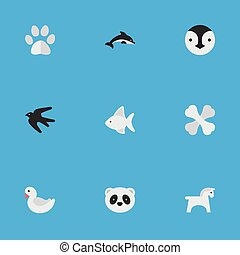 Vector Illustration Set Of Simple Animals Icons. Elements Bear, Steed, Foot And Other Synonyms Steed, Skeleton And Dolphin.