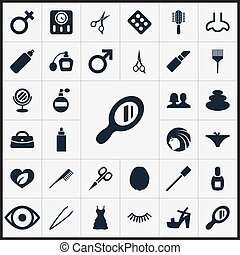 Vector Illustration Set Of Simple Beauty Icons. Elements...