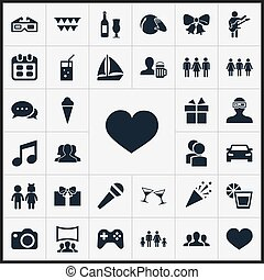 Vector Illustration Set Of Simple Celebration Icons....