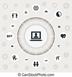 Vector Illustration Set Of Simple Mates Icons. Elements...