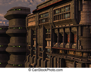 SCI-FI industrial town - 3D rendered sci-fi scene of...