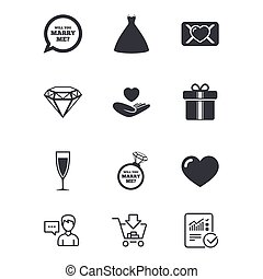 Wedding, engagement icons. Love oath letter. - Wedding,...