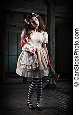 Weird girl with dolls in abandoned place - Weird girl with...