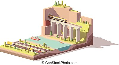 Vector low poly highway near river and railroad - Vector low...