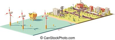Vector low poly wind turbines power plant infrastructure....