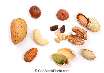 mixed of nuts isolated on white background. Almonds,...