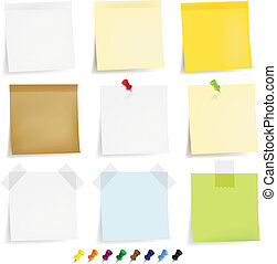 Sticky Papers Set - 9 Sticky Papers With Adhesive Tapes And...