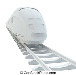 White high-speed train, isolated on white background. 3d...