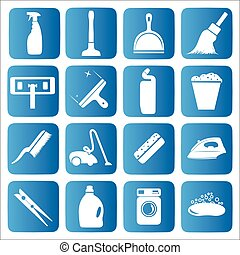 Cleaning icons set - Vector Illustration - icon set.