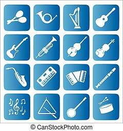 Musical instruments icons set - Vector Illustration - icon...