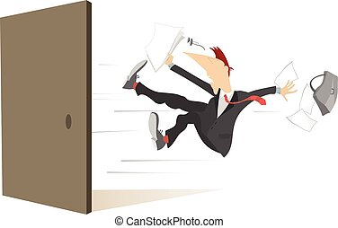 Young man flies out from the open door isolated