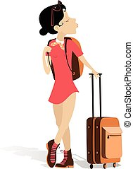 Young woman with a bag and rucksack is going to travel isolated