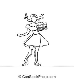 Oktoberfest girl with beer - Continuous line drawing....