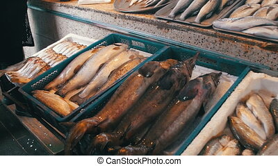 Fresh Sea Fish In Shop. Seafood In Ice On The Counter...