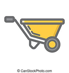 Wheelbarrow filled outline icon, build and repair,...
