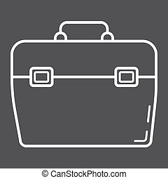Toolbox line icon, build and repair, toolkit sign vector graphics, a linear pattern on a black background, eps 10.