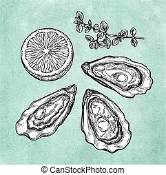Oysters with lemon and thyme.