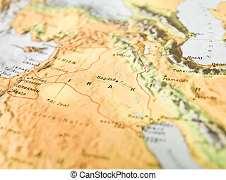 Map of Bagdad in Irak