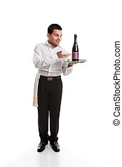 Waiter presenting a bottle of alcohol