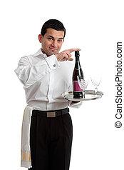 Bartender recommending wine